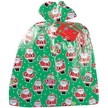 (2 pack) Large Plastic Santa Claus Christmas Gift Bag, 3.75 x 3 ft