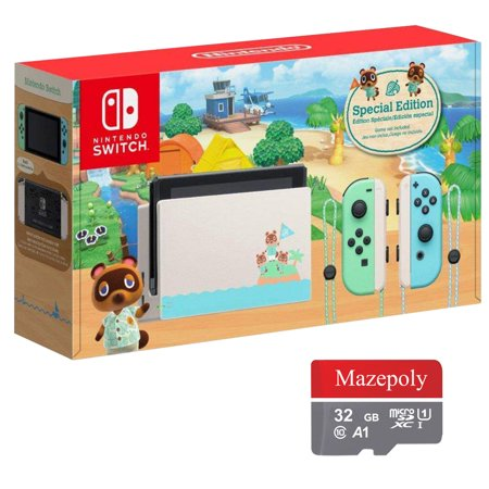 Nintendo Switch Bundle: Nintendo Switch Animal Crossing New Horizons Edition 32GB Console with Mazepoly 32GB SD Card