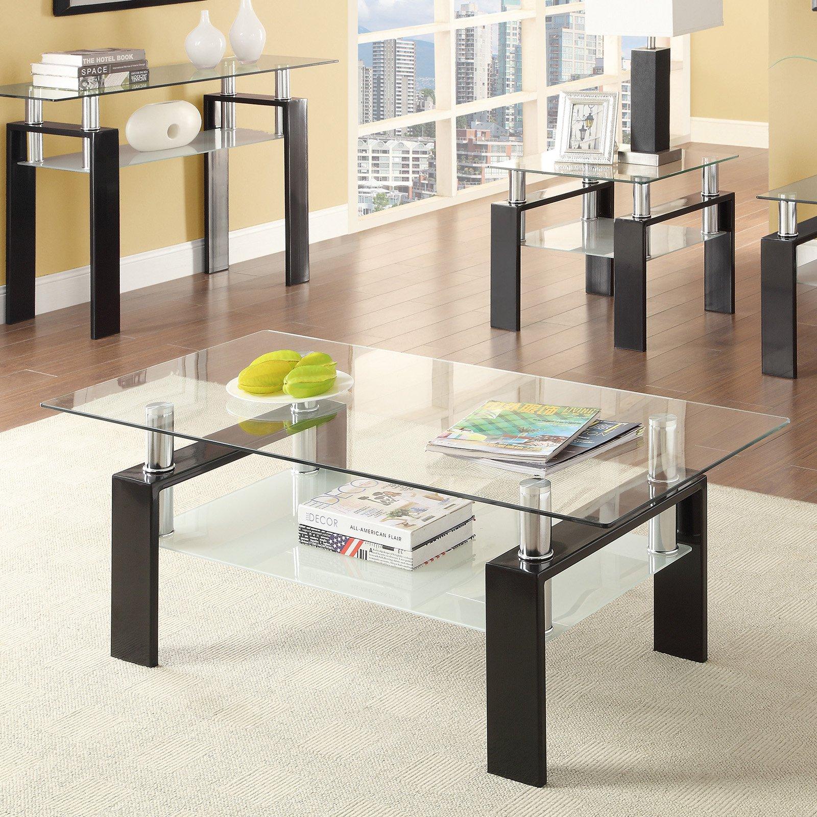 Coaster Furniture Glass Top Coffee Table with Shelf - Chrome