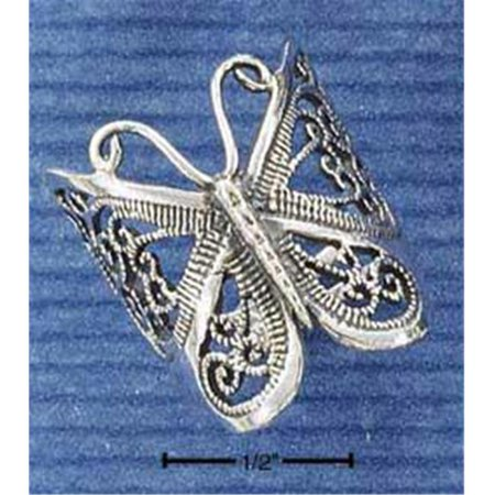 - Sterling Silver Large Butterfly Filigree Ring - Size 10