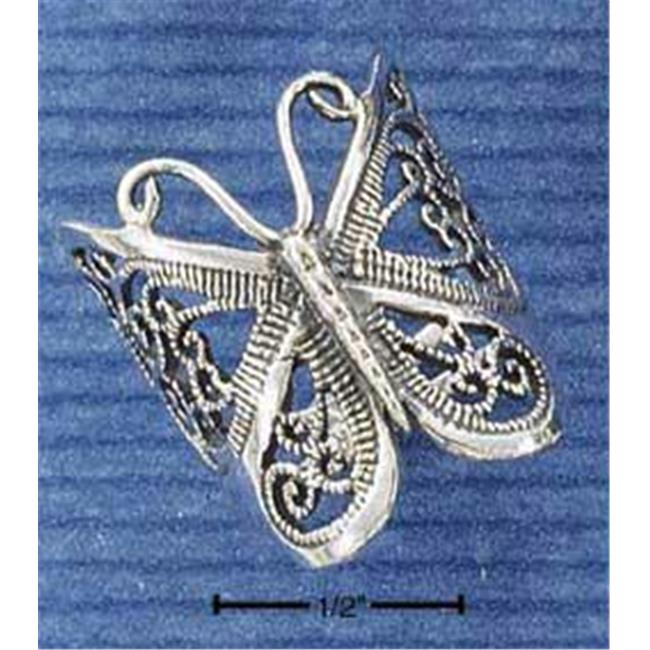 Sterling Silver Large Butterfly Filigree Ring - Size 10