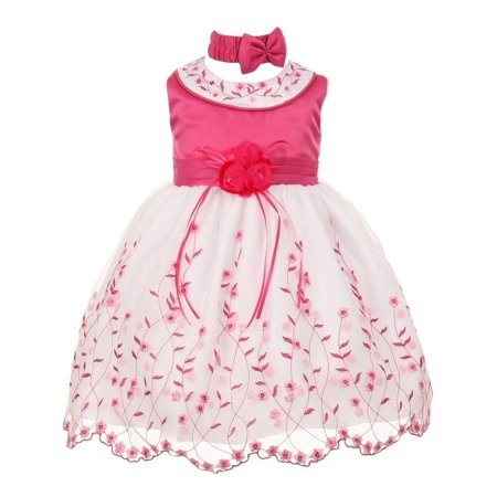 Little Girls Fuchsia White Floral Jeweled Flower Girl Bubble Dress 4T