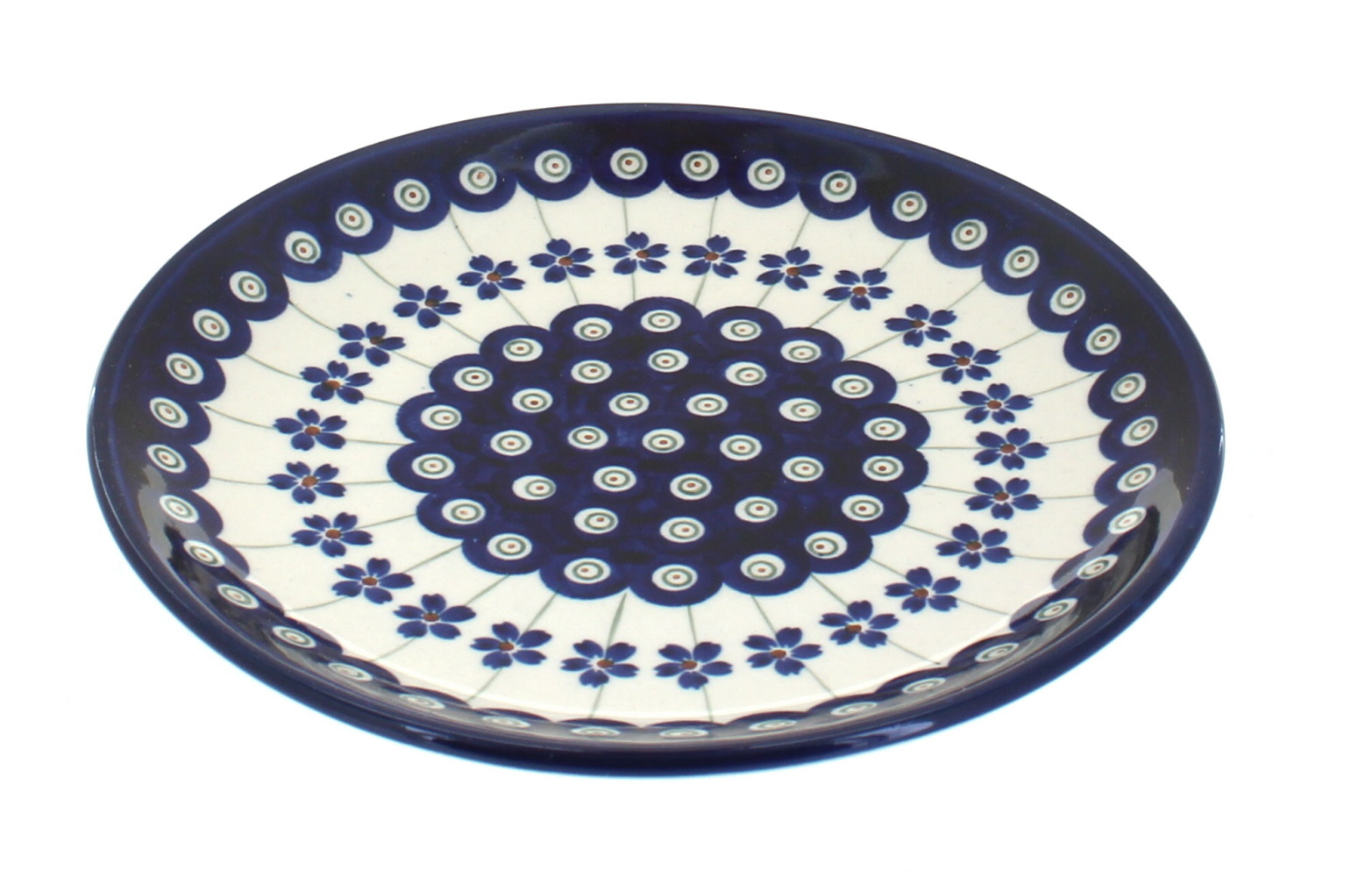 Polish Pottery Flowering Peacock Dessert Plate