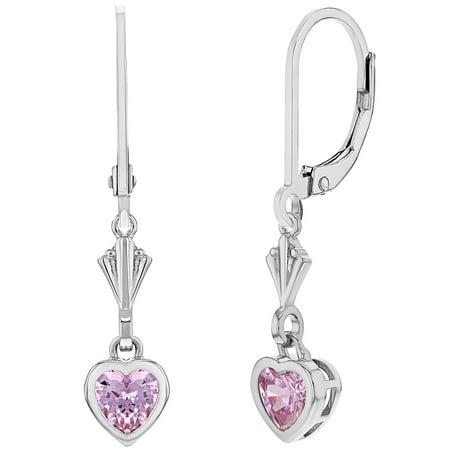d0aee4b055779 925 Sterling Silver Pink Heart Leverback Dangle Children's Earrings |  Walmart Canada