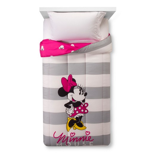 Minnie Mouse Pink and Gray Twin Comforter and Sheet Set
