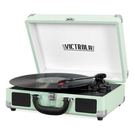 Victrola Vintage 3-Speed Bluetooth Suitcase Turntable with Speakers, Mint (2019