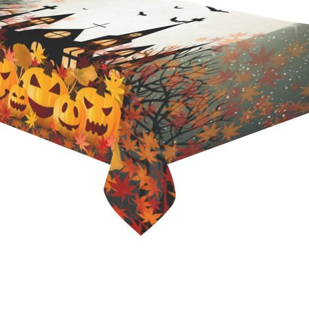 MYPOP Happy Halloween Pumpkin Maple Leaf Tablecloth Set 60x104 Inches - Halloween Gifts Purple Tablecover Desk Table Cloth Cover for Wedding Party Decor](Halloween Tablecloth Ideas)
