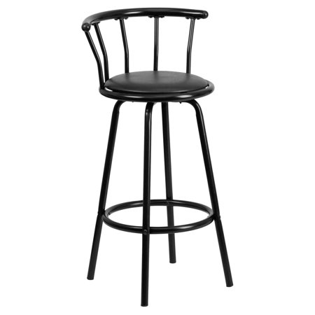 Flash Furniture Crown Back Black Metal Bar Stool with Black Vinyl Swivel Seat