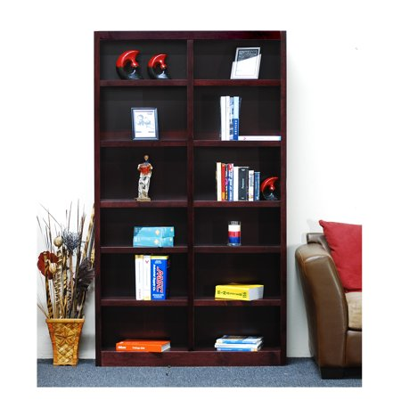 12 shelf double wide wood bookcase 84 inch tall cherry finish. Black Bedroom Furniture Sets. Home Design Ideas