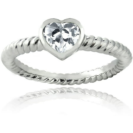 Design Shank Ring - Zirconia Ice Swarovski Zirconia Sterling Silver Rope Shank Design Heart Shape Stone Ring