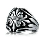 Men's 9 mm Cobalt Chrome Black Diamond Accent Ring Size 07.5