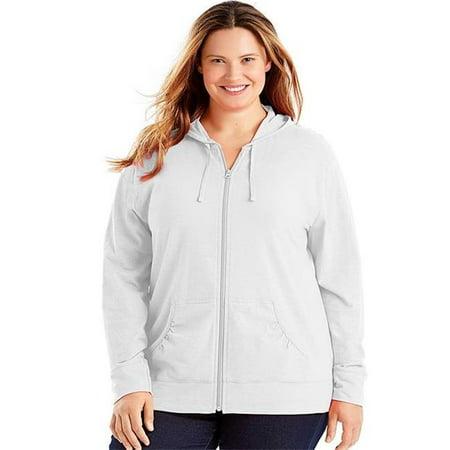 90563105915 Slub-Cotton Full-Zip Womens Hoodie - WH, 4X - image 1 of 1