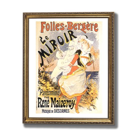 French miroir vintage poster ad wall picture gold framed for Miroir walmart