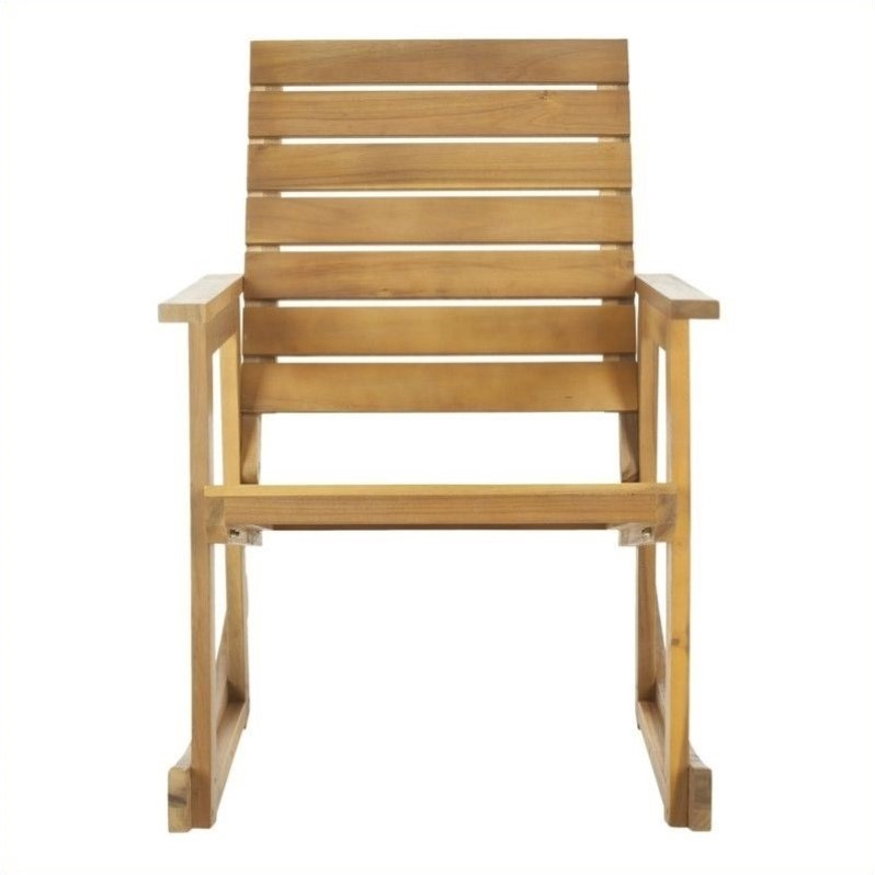 Hawthorne Collection Steel and Acacia Wood Rocking Chair in Teak Color