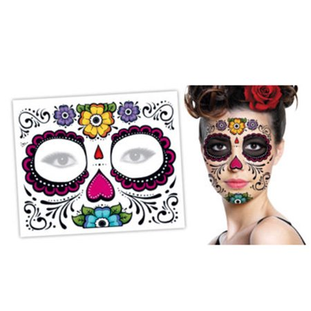 2PCS Day Of The Dead Dia de los Muertos Face Mask Sugar Skull Tattoo