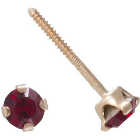 Stud Earrings Garnet Earrings (CZ 14kt Yellow Gold January Birthstone Stud Earrings )