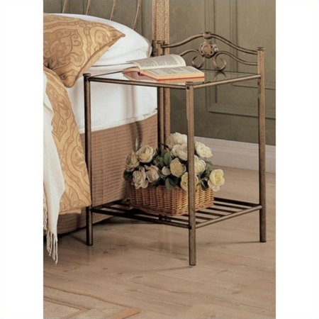 Kingfisher Lane Iron Nightstand with Shelf in Antique Brushed Gold