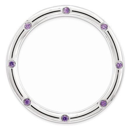 Sterling Silver Stackable Expressions Large Polished Amethyst Chain Slide