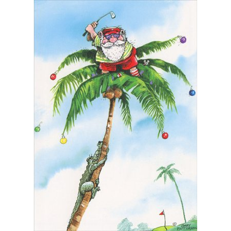 LPG Greetings Golfer Santa on Top of Palm Tree Box of 18 Gary Patterson Tropical Holiday Cards