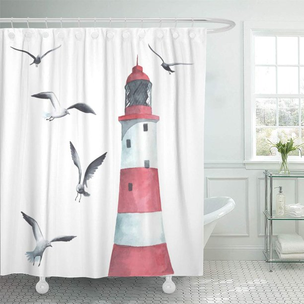 Cynlon Water Watercolor Lighthouse And Seagulls House Drawing Seaside Nautical Sailor Bathroom Decor Bath Shower Curtain 60x72 Inch Walmart Com Walmart Com