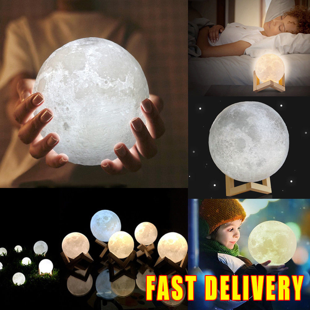 3D Moon Lamp USB LED Night Light Moonlight Gift Touch Sensor Changing (12CM)