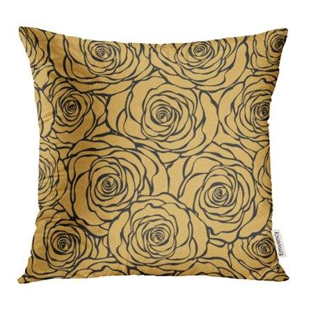 EREHome Silver Gold Floral Roses Flower Black Love Graphic 1920 30S Abstract Pillowcase Cushion Cases 20x20 inch - image 1 of 1