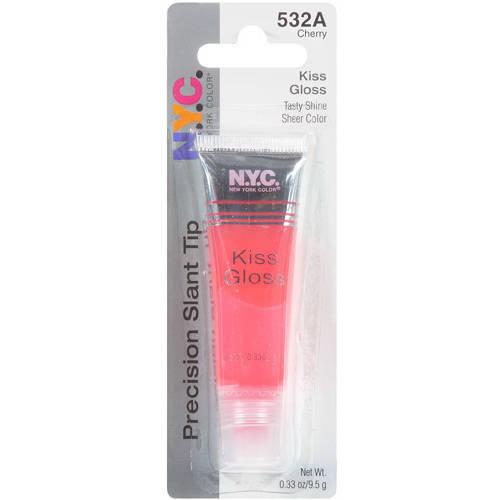 N.Y.C. New York Color Precision Slant Tip Kiss Gloss, Cherry 532A, 0.33 fl oz