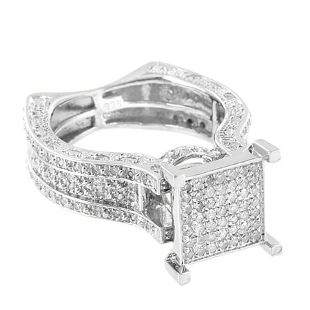 Sterling Silver Engagement Ring Square Face Real Diamonds Micro Pave Wedding Bridal