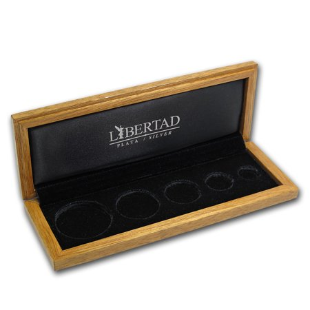 Libertad 5 Coin Wood Presentation Box Banco De Mexico  Silver