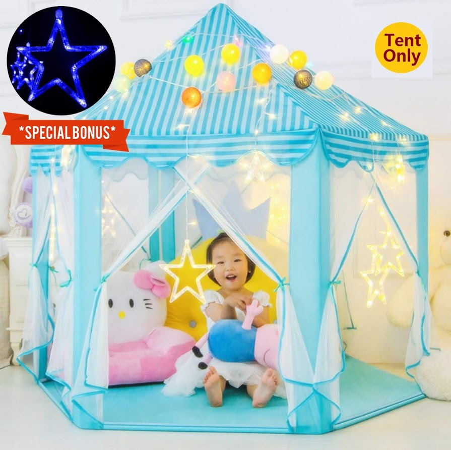 Play Tent with Star Lights for Girls, Children's Playhouse Princess Castle Chrismas Gifts Toys for Boys Girls,for 2-3 Kids