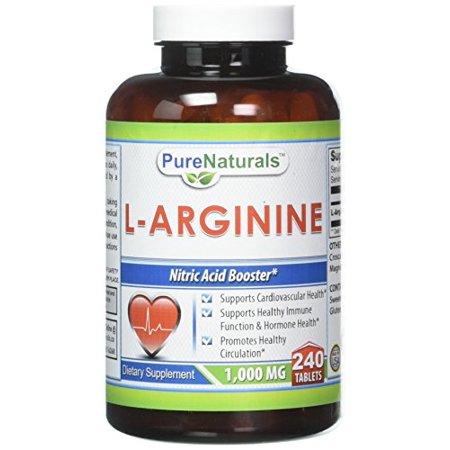 1/4 Natural - Pure Naturals L-Arginine 1000mg 240 Tablets