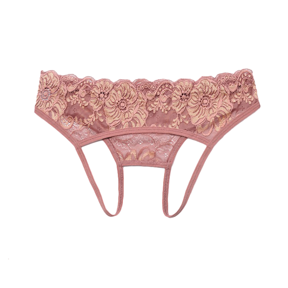 Women Crotchless Embroidered Briefs Panties Thongs Lingerie Underwear G-string