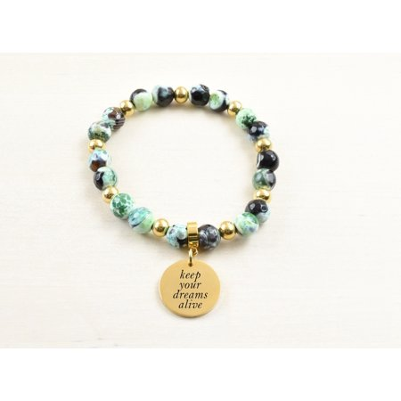 Genuine Agate Inspirational Bracelet - Green - Keep your dreams alive