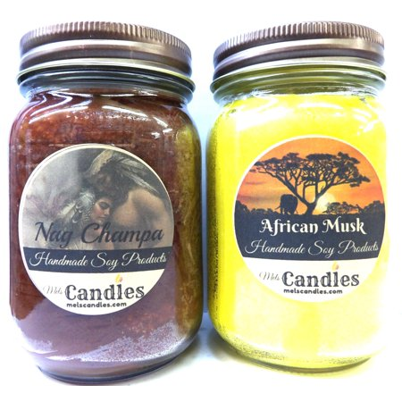 Combo - Nag Champa and African Musk Set of Two 16oz Country Jar Soy Candles Great Unique -