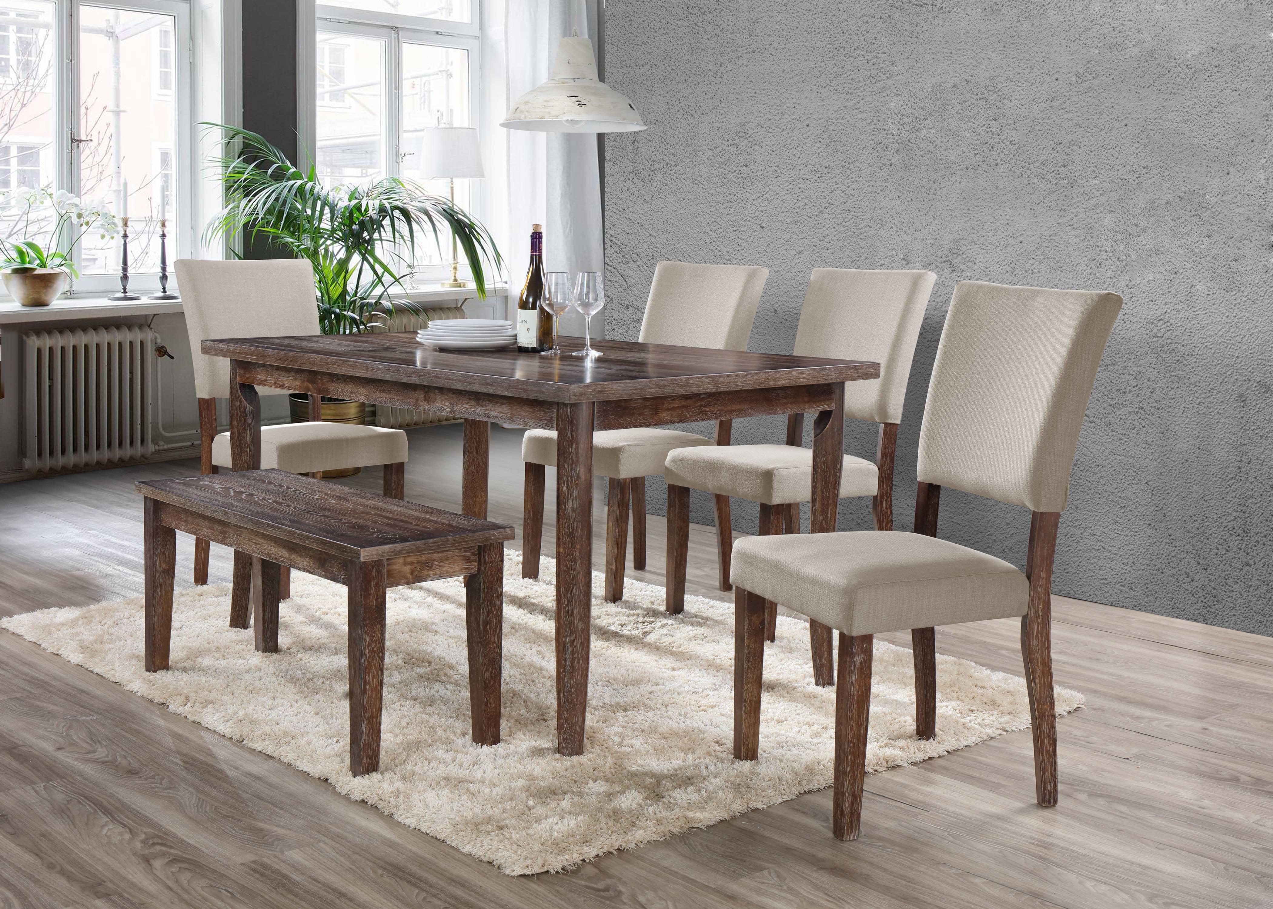 Best Master Furniture MINDY 6 Pcs Transitional Antique Natural Oak Dining Room Set by Best Master Furniture