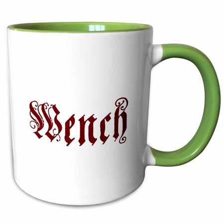 3dRose Wench - Two Tone Green Mug, 11-ounce (Serving Wench)