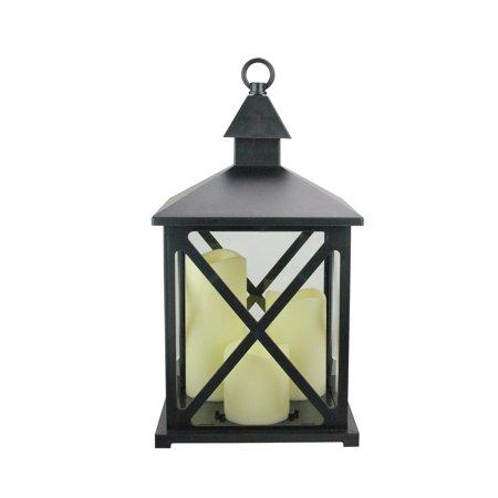 "12.5"" Black Candle Lantern with 3 Flameless LED Candle - image 1 de 1"