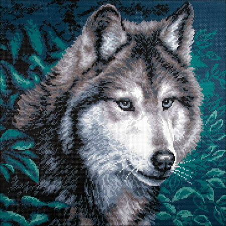 Collection D'Art Stamped Cross Stitch Kit, 41cm x 41cm, - Wolf Needlepoint Kit
