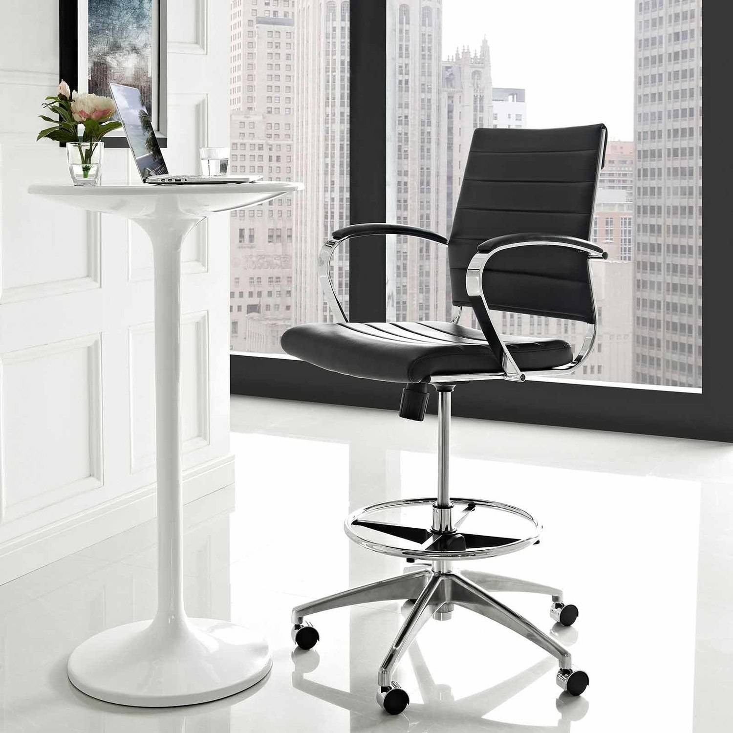 Superb Modway Jive Leatherette Drafting Chair With Aluminum Frame In Black Image 1  Of 5