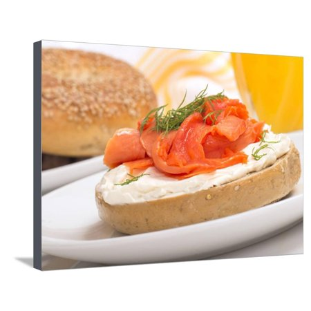 Delicious Freshly Baked Everything Bagel with Cream Cheese, Lox and Dill Served with Fresh Orange J Stretched Canvas Print Wall Art By