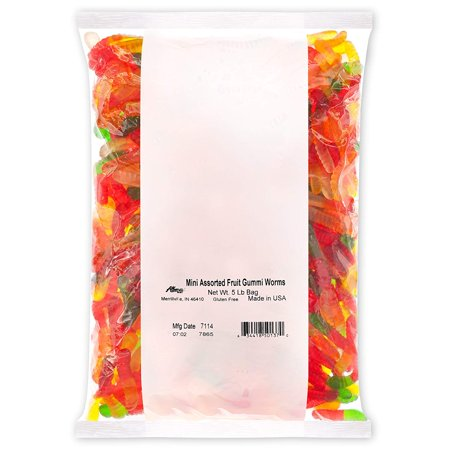Candy Mini Assorted Fruit Gummi Worms 5 Pound Bag Gummi Candy, Assorted Flavors: Cherry, Green Apple, Pineapple, Lemon, Orange; Gluten Free Dairy Free Fat Free Albanese - Gluten Free Assorted Flavors