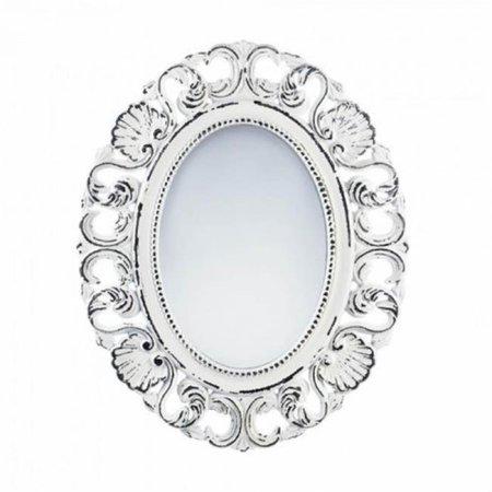 Scalloped Mirror - Off-White Distressed Scallop Wall Mirror