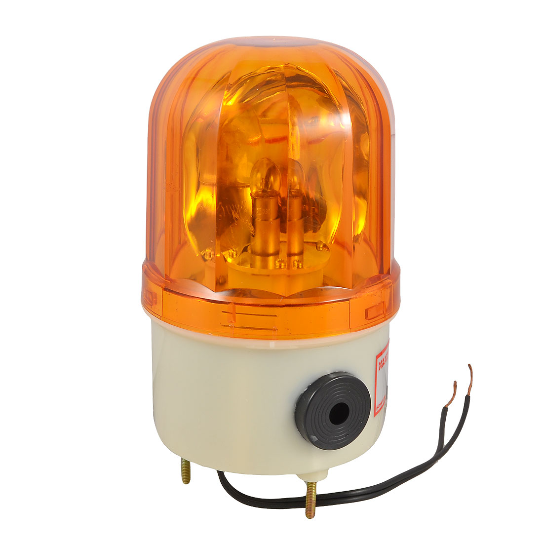Unique Bargains 10W AC 110V Industrial Yellow Rotary Light Warning Lamp w Buzzer Siren