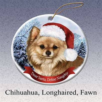 Holiday Pet Gifts Chihuahua Longhaired Fawn Santa Hat Dog Porcelain Christmas Tree Ornament - Chinese Hat With Pigtail