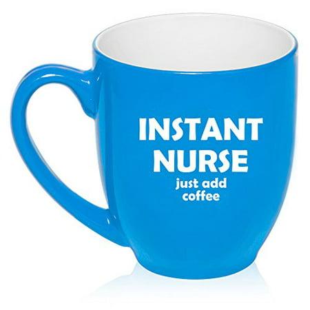 16 oz Large Bistro Mug Ceramic Coffee Tea Glass Cup Instant Nurse Just Add Coffee (Light - Blue Glass Cups