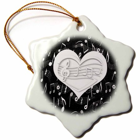 3dRose White Heart Shaped Musical Note, Black and White Musical Notes - Snowflake Ornament, 3-inch - Heart Shaped Ornaments