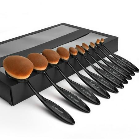 10-Piece Oval-Shaped Makeup Brush Set (Black Widow Makeup)