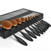 10-Piece Oval-Shaped Makeup Brush Set