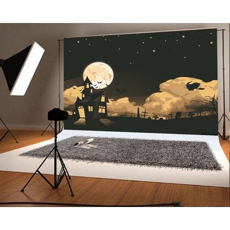 GreenDecor Polyster 7x5ft Happy Halloween Photography Backdrops Black Bats Castle Boneyard Photo Studio Backgrounds for Party](Happy Halloween Backgrounds 2017)