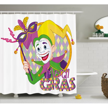 Mardi Gras Shower Curtain Cartoon Design Of Jester Smiling And Holding A Mask